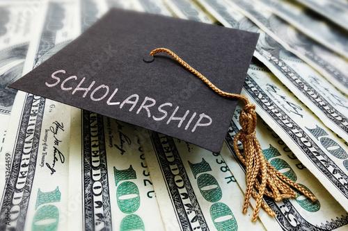 Photo Scholarship cap on money