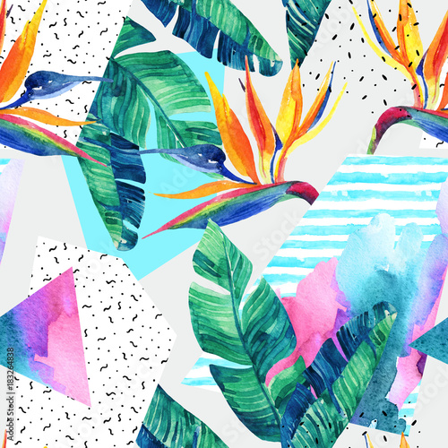 Poster Graphic Prints Watercolor exotic flowers, leaves, grunge textures, doodles seamless pattern.