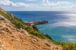 Coastline landscape from the Tsambika mountain on the Rhodes Island, Greece