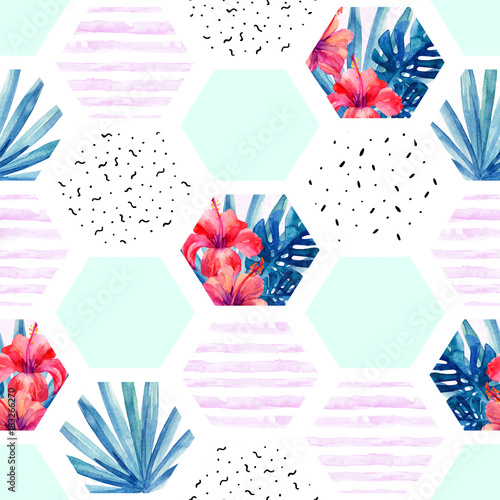 Abstract summer hexagon shapes seamless pattern