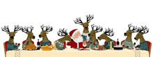 Close Up Of Christmas Party, Santa Have Christmas Party With His Reindeer Team On Transparent Background