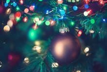 Christmas Tree Ornaments Lights Bokeh