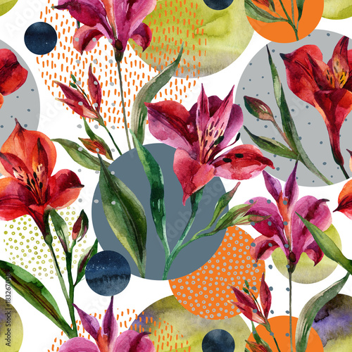 Photo sur Toile Empreintes Graphiques Watercolor decorative flowers and leaves, circle shapes filled with watercolour, minimal doodle textures on background.