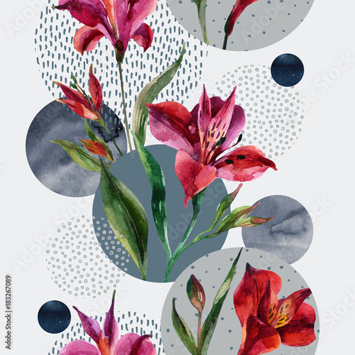 Staande foto Grafische Prints Watercolor decorative flowers and leaves, circle shapes filled with watercolour, minimal doodle textures on background.