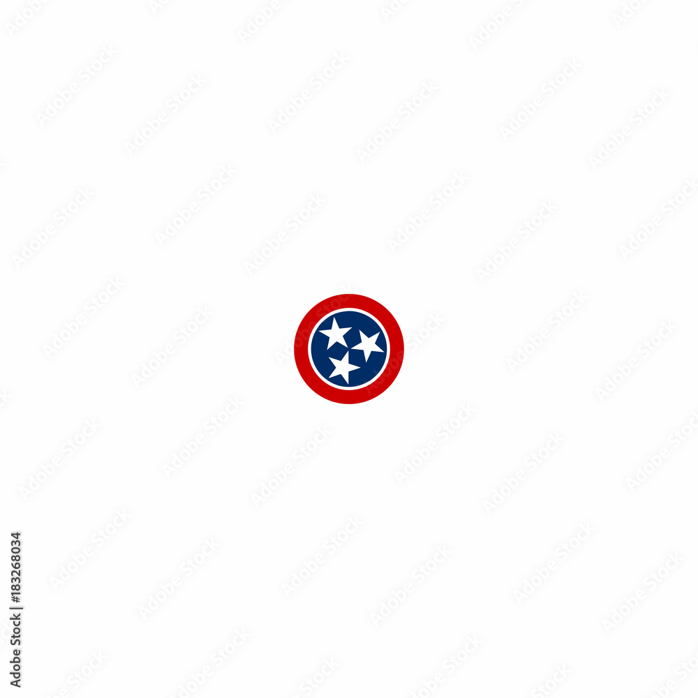 Fototapeta Tennessee Logo with Three Stars Icon Vector