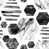 Akwarela sześciokąt z paskami, marmur kolor wody, ziarniste, grunge, tekstury papieru. - 183268417