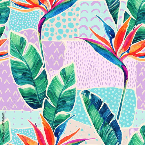 Aluminium Prints Graphic Prints Watercolor tropical flowers on geometric background with doodles.