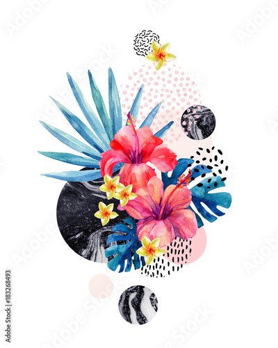 Wall Murals Graphic Prints Watercolor tropical flowers on geometric background with marbling, doodle textures