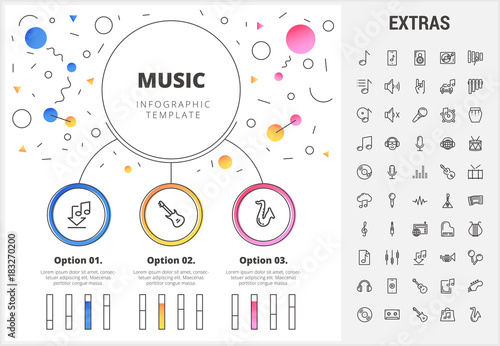 Music circle infographic template, elements and icons