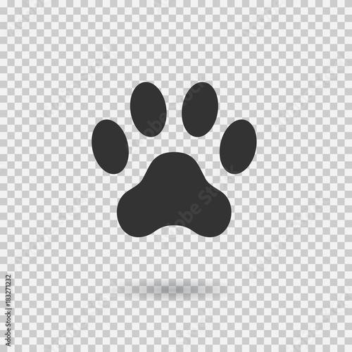 Obraz Animal paw print. Dog paw with shadow. Web icon. Footprint - fototapety do salonu