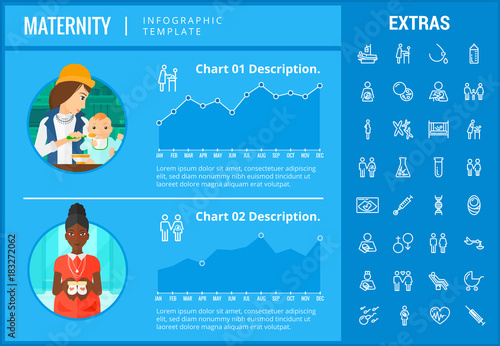 Infograph Includes Customizable Graphs Charts Line Icon Set With Pregnant Woman T Feeding Child Care Reproductive Technologies Etc