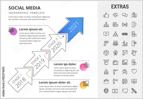 Social media timeline infographic template, elements and icons ...