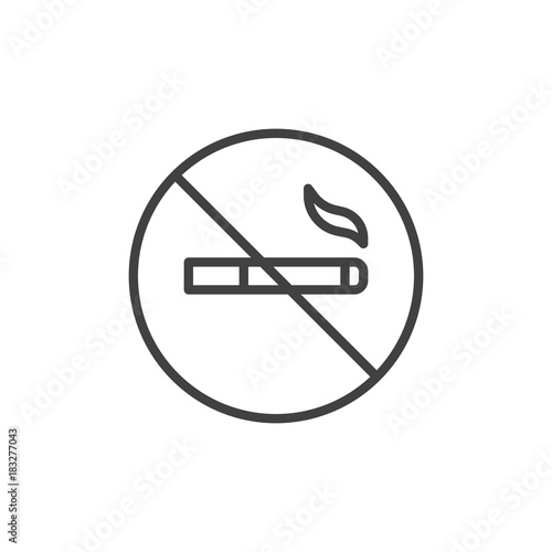 Photo No smoking cigarette line icon, outline vector sign, linear style pictogram isolated on white