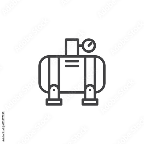 Fototapeta Air compressor line icon, outline vector sign, linear style pictogram isolated on white. Symbol, logo illustration. Editable stroke obraz
