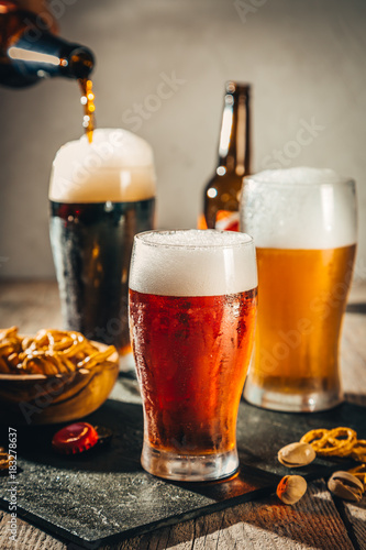 Spoed Foto op Canvas Bier / Cider Different types of beer