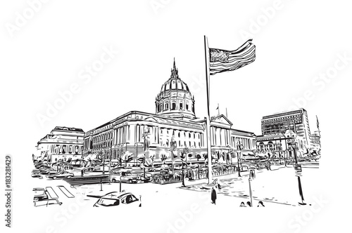 Sketch illustration of San Francisco City Hall is Beaux-Arts architecture and located in the city's civic center, USA in vector illustration Tapéta, Fotótapéta
