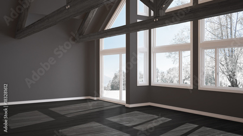 Fototapeta Empty room in luxury eco house, parquet floor and wooden roof trusses, panoramic window on winter meadow, modern gray architecture interior design obraz na płótnie