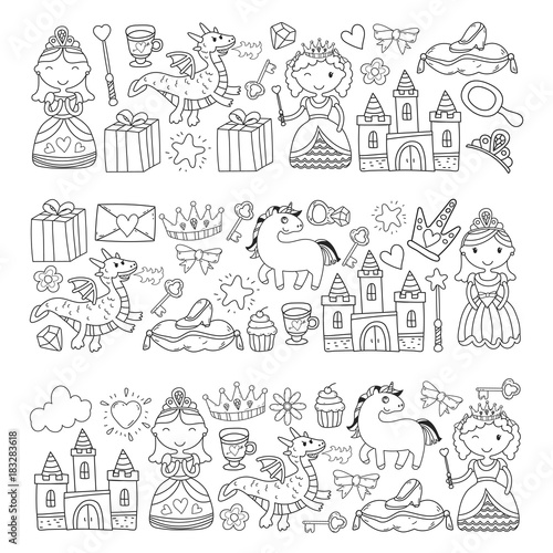 In de dag Boho Stijl Set of doodle princess and fantasy icon and and design element for invitation and greeting card. Kids drawing. Kindergarten, preschool, school pattern