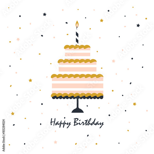 happy birthday card with cake Canvas