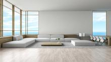Modern Interior Living Room Wood Floor Sofa Set Sea View Summer 3d Rendering