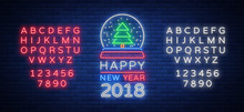 Happy New Year 2018 Is A Neon Sign. Neon Symbol For Your New Year's Projects, Greetings Cards, Flyers, Banners. Bright Festive Signboard, Luminous Advertising. Vector Illustration. Editing Neon Sign
