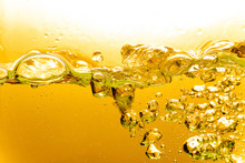 Liquid Gold Bubbles In Water Or Oil, Beautiful Abstract Background