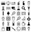 Set of 36 glass filled and outline icons