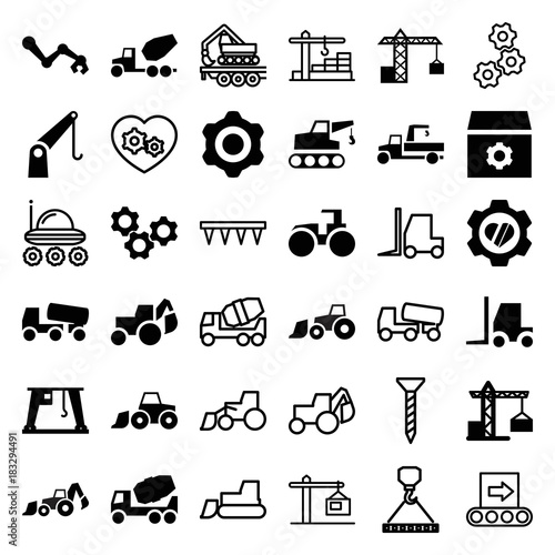 Fotografía  Set of 36 machinery filled and outline icons