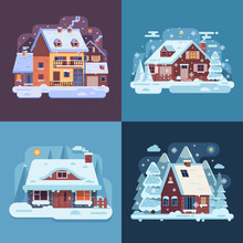 Snowy Landscapes And Banners W...