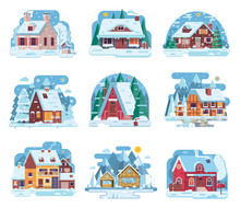 Winter Country Houses And Cabi...