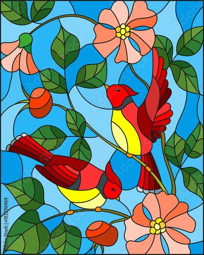 ilustracja-w-stylu-witrazu-z-dwoch-czerwonych-ptakow-na-galezi-kwitnacych