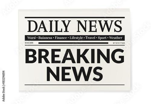 Fototapeta Daily news newspaper. Breaking news headline magazine obraz