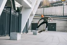 Skateboarder Performing Jump T...