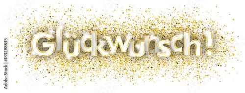 Leinwand Poster Glückwunsch Headliner mit goldenem Sand