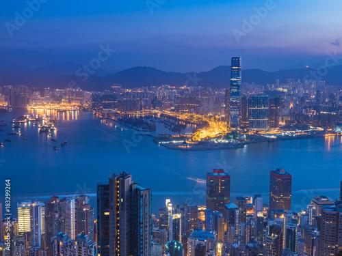 Garden Poster Beautiful morning Hong Kong City landscape view before sunrise
