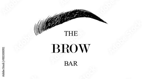 Photo The Brow Bar logo for beauty studio with hand drawing eyebrow, Female Eyebrow Ve
