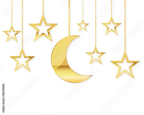 Obraz Celebratory background with a golden moon and stars. Vector illustration. - fototapety do salonu
