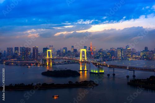 Plakat Widok Tokio Zatoka, Tęczowy most ..