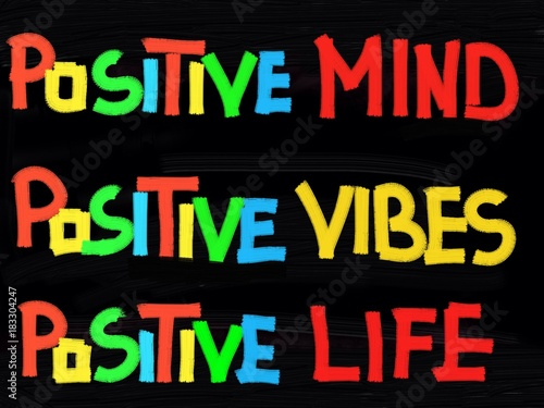 Foto op Canvas Positive Typography Positive mind, positive vibes, positive life