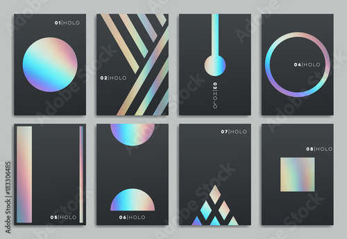 Fototapeta Brochure template design. Set of abstract holographic geometric layout. Vector illustration collection for business, advertising. obraz