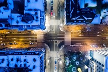 Aerial Drone View On City Inte...