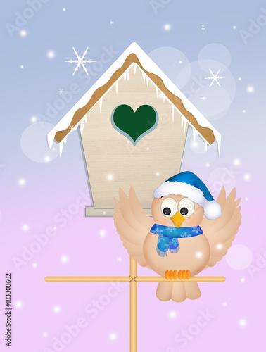 Poster Retro sign bird in winter