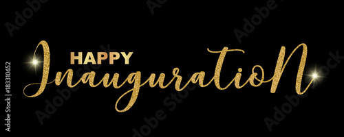 Happy inauguration handwritten festive text isolated on black happy inauguration handwritten festive text isolated on black background vector illustration hand drawn lettering stopboris Gallery