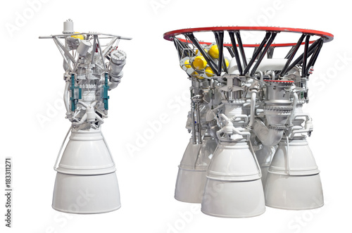 Deurstickers Nasa Rocket engines, engine with one nozzles and engine with four nozzles. Isolated on white backgroung