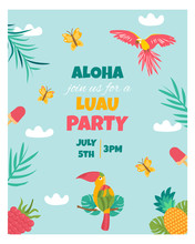 Invitation Card With Tropical Elements, Birds