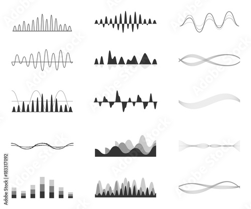 Poster Abstract wave Set of vector audio scales.