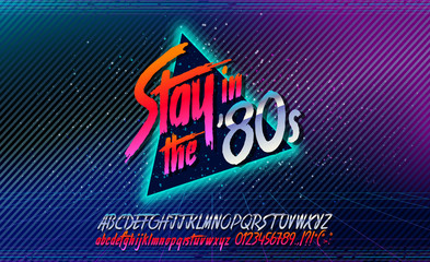80s, Stay in the 80's. Retro alphabet font banner. Alphabet vector Old style poster. Retro style disco. 80's disco party 1980, 80's fashion, 80s background, 80s neon style, vintage dance night.