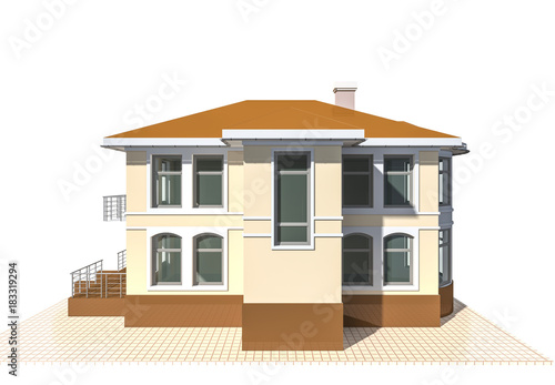 Private cottage, residential building 3d illustration on a