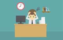Businessman Strain Very Headache On Office Table Work Hard.cartoon Of Business Success Is The Concept Of The Man Characters Business, The Mood Of People,background, Infographic. Vector Illustration