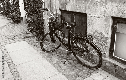 Vintage bicycle on the street. Poster